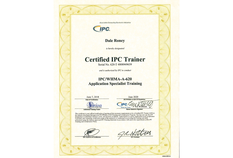 Certified IPC Trainer Certificate